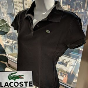 94b9a0f3cfdab Lacoste Tops - LACOSTE Black VINTAGE SHORT SLEEVE CROP POLO